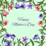 kortet blommar fjädern Dag för mödrar för fo för textram stock illustrationer