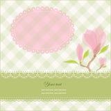 kortet blommar hälsningsmagnoliapink Fotografering för Bildbyråer