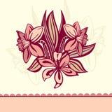 kortet blommar retro Arkivfoto