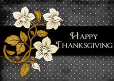 kortet dots lycklig tacksägelse för blommor Arkivfoto