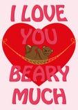 Kortet för dagen för valentin` s med citationstecken älskar jag dig Beary mycket och a Royaltyfria Foton