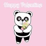 Kortet för dagen för valentin` s med den gulliga pandan kommer med en hink av blomman på rosa bakgrund Royaltyfria Foton