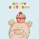 Kortet för den lyckliga födelsedagen - behandla som ett barn björnen Fotografering för Bildbyråer