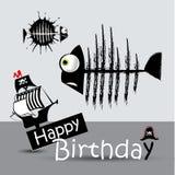 Kortet för den lyckliga födelsedagen piratkopierar den roliga fisken vektor illustrationer