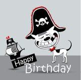 Kortet för den lyckliga födelsedagen piratkopierar den roliga hunden stock illustrationer