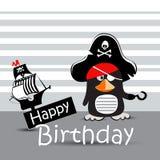 Kortet för den lyckliga födelsedagen piratkopierar den roliga pingvinet vektor illustrationer