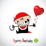 Kortet för den lyckliga födelsedagen piratkopierar förälskelse royaltyfri illustrationer