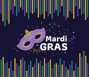 Kortet för den Mardi grasfestivalen med maskeringstecken- och mardigras smsar mellan designen för vektorn för ramen för pärlan fö Royaltyfri Bild