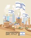 Kortet för hälsningen för den Israel Independence dagvektorn med Israel sjunker i modern stil Royaltyfria Foton