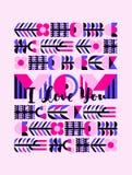 Kortet för hälsningen för moderdagen med den handskrivna bokstävermamman älskar jag dig Arkivfoto
