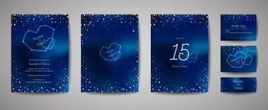 Kortet för inbjudan för himmel för den stjärnklara natten sparar det moderiktiga gifta sig, datumet Celestial Template med galaxe royaltyfri illustrationer