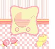 Kort för nyfödd flickavektor Vektor Illustrationer