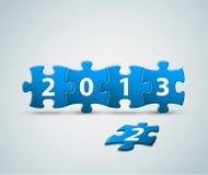 Kortet för nytt år som 2013 göras från pussel, pieces stock illustrationer