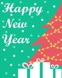 Kortet för ` s för nytt år med en julgran och gåvor vektor illustrationer