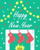 Kortet för ` s för nytt år med en spis och gåvor vektor illustrationer