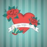Kortet för valentindagtappning med röd hjärta dekorerade med fågeln och rosor Arkivfoto
