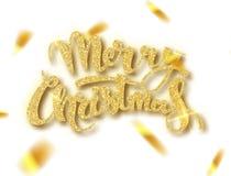 Kortet f?r glad jul med guld- bl?nker bokst?ver Guld- confett R?cka utdragen text, kalligrafi f?r din design royaltyfri illustrationer