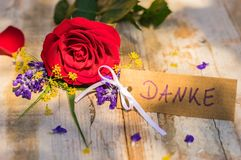 Kortet med det tyska ordet, Danke, hjälpmedel tackar dig och den romantiska gruppen med den röda rosblomman Royaltyfri Foto