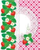 Kortet med jordgubbar och snör åt cirkelramen Royaltyfria Bilder