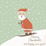 Kortet med jultomten skidar på. Arkivbild