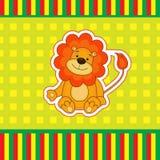 Kortet med lite behandla som ett barn lejonet Arkivbild