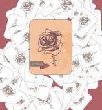 Kortet med rosa och inskriften spridde på yttersidan Temaval tappning för stil för illustrationlilja röd Royaltyfria Foton