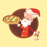 Kortet med tecknad filmälvan för jul och det nya året festar Arkivfoton
