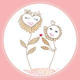 Kortet med tecknade filmen blommar förälskat Royaltyfri Illustrationer