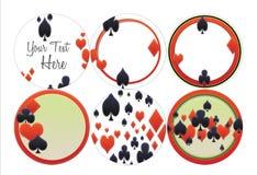 Kortet passar poker, euchren, Black Jack, hjärtor, spadar, diamanter Royaltyfria Bilder