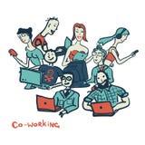 Kortet som coworking med folk åldras allra, med bärbara datorer och datoren stock illustrationer