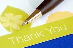 kortet tackar skriver dig Fotografering för Bildbyråer