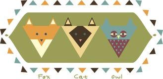Kortet trycket, pwith stiliserade räven, ugglan, katt Arkivfoto
