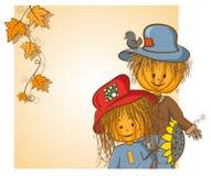 kortflickvän som greeting hans scarecrow Royaltyfria Bilder