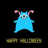 korthälsning lyckliga halloween Det blåa monstret med öron, tand, synar Roligt gulligt tecknad filmtecken Behandla som ett barn s Arkivbilder