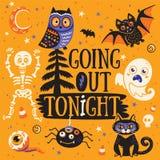 korthälsning halloween Gå ut ikväll också vektor för coreldrawillustration Arkivbild