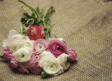 1 kortinbjudan Bukett av blommor på säckväv i retro stil Arkivbild