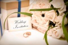 kortinbjudanbröllop Royaltyfri Bild