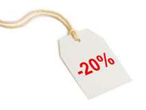 Korting 20% van het etiket Royalty-vrije Stock Foto's