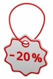 Korting - 20% markering het 3d teruggeven Stock Fotografie