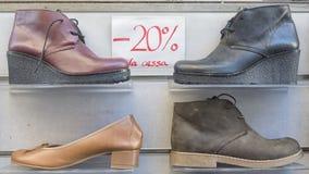 Korting op schoenenverkoop Stock Foto