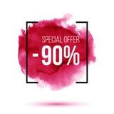 Korting 90 percenten van verkoop op roze watercolourachtergrond stock afbeeldingen