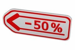 Korting - 50% pijl Stock Foto's