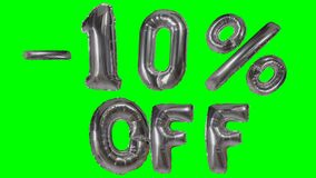 Korting 10 tien percenten van de zilveren banner die van de ballonverkoop op groene het scherm het winkelen aanbieding drijven - stock footage