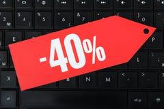 Korting van veertig percenten stock afbeeldingen