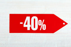 Korting van veertig percenten stock fotografie