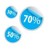Korting 30 50 70 verkooppictogram op witte achtergrond Stock Foto's