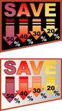 Kortingsaanplakbord met percentenetiket Stock Foto