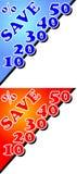 Kortingsaanplakbord met percentenetiket Stock Foto's