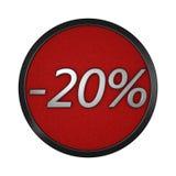 Kortingspictogram ` - 20% ` Geïsoleerde grafische illustratie het 3d teruggeven Stock Afbeeldingen