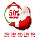 Kortingssticker met Santa Claus Stock Afbeelding